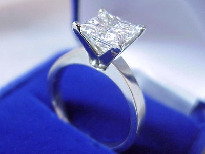 Princess Cut Diamond Ring: 2.35 carat in Solitaire Mounting