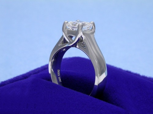Radiant Cut Diamond Ring: 1.02 carat 1.01 ratio in a Trellis style mounting