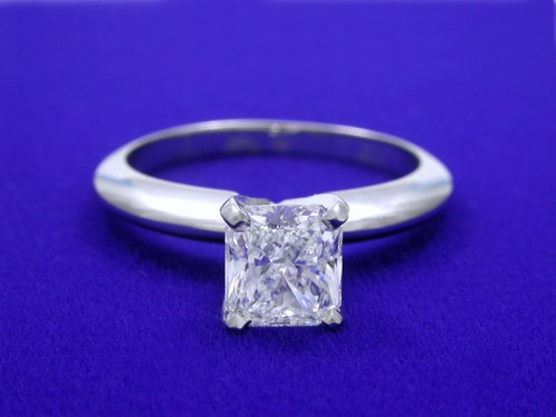 Radiant Cut Diamond Ring: 0.83 carat with 1.10 ratio in Solitaire Mounting