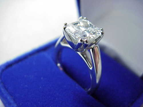 Radiant Cut Diamond Ring: 2.06 carat with split-prong cathedral style mounting