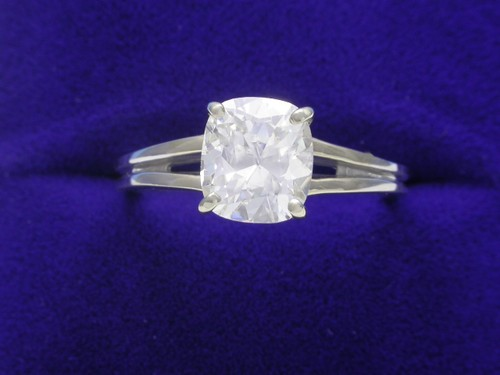 Cushion Cut Diamond Ring: 1.50 carat with 1.14 ratio and Split Shank mounting