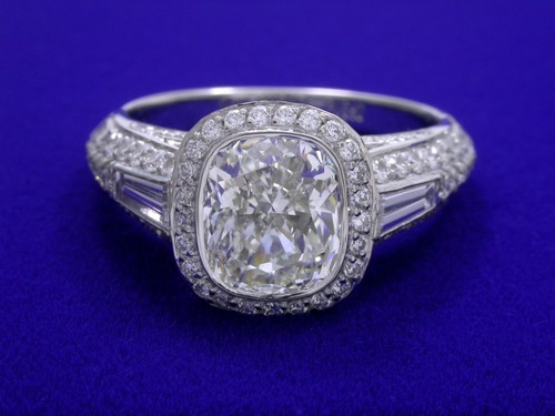 Cushion Cut Diamond Ring: 1.71 carat with 1.15 ratio and 1.24 tcw pave