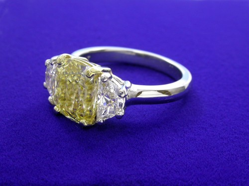 Cushion Cut Diamond Ring: 2.60 carat with 1.16 ratio and 0.70 tcw Half Moon diamonds