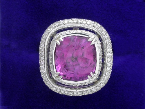 Cushion Cut Diamond Ring: 7.03 Pink Sapphire ratio 1.09 1.66 tcw in Custom Bez Ambar mounting