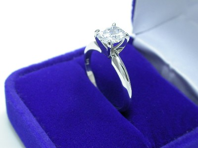 Cushion Cut Diamond Ring: 1.04 carats with 1.23 ratio in Solitaire style mounting