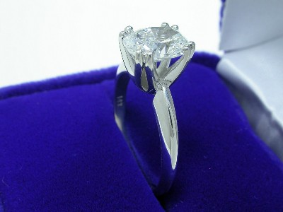 Cushion Cut Diamond Ring: 1.61 carats with 1.30 ratio in double-prong Solitaire style mounting