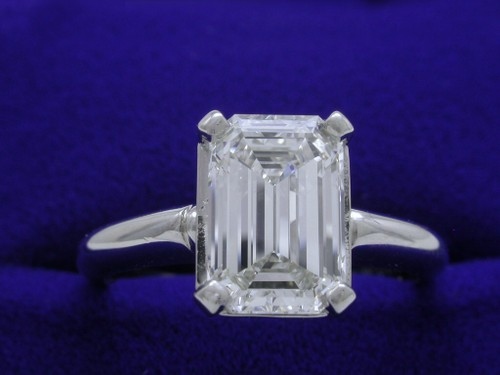 Emerald Cut Diamond Ring: 1.81 carats with 1.48 ratio in Basket-Style Mounting