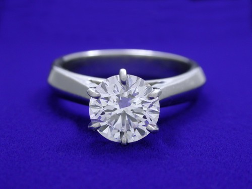 Round Brilliant Cut Diamond Ring: 1.39 carat with 6-prong Cathedral style mounting