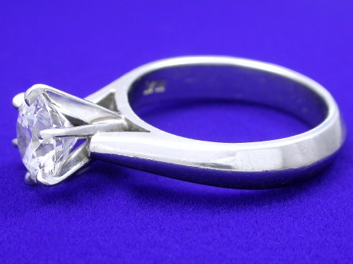 Round Brilliant Cut Diamond Ring: 1.39 carat six prong Cathedral mounting