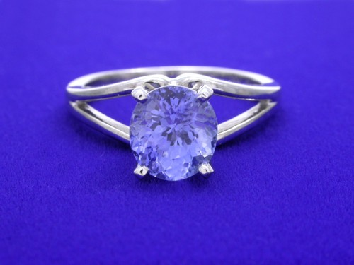 Round Blue Sapphire Ring: 1.98 carat in split shank mounting