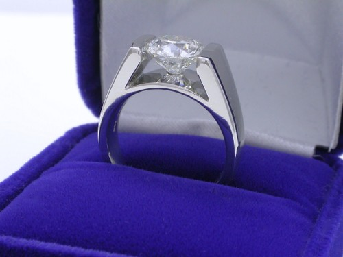 Round Brilliant Cut Diamond Ring: 2.20 carat in wide Cathederal style mounting