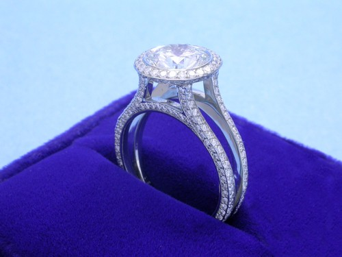 Round Brilliant Cut Diamond Ring: 2.23 carat in Bez Amar Designer split-shank pave-set mounting