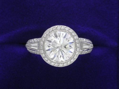 Round Brilliant Cut Diamond Ring: 2.52 carat Bez Ambar Designer pave-set mounting
