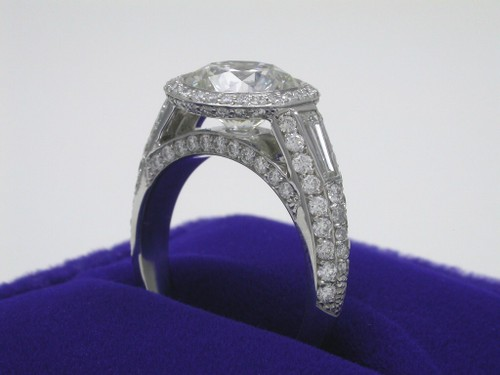 Round Brilliant Cut Diamond Ring: 2.52 carat with Bez Ambar Pave Set Custom Mounting